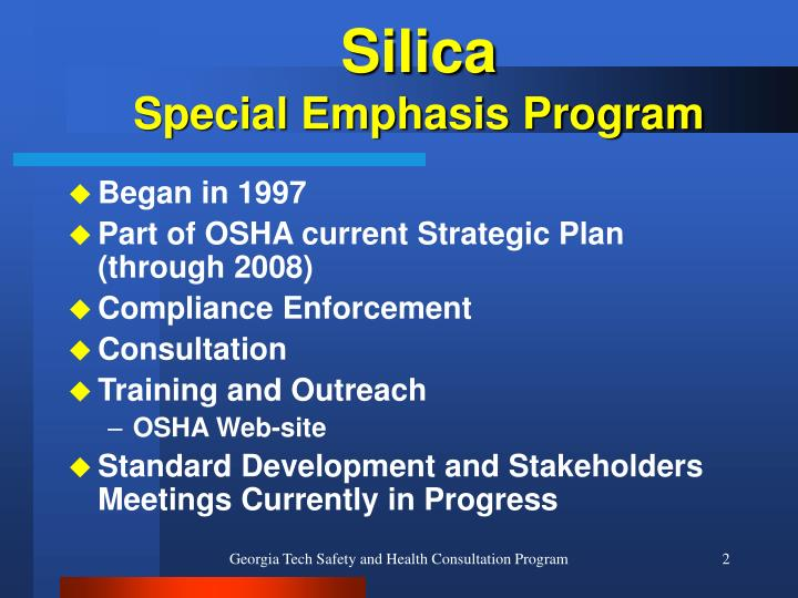 Silica special emphasis program