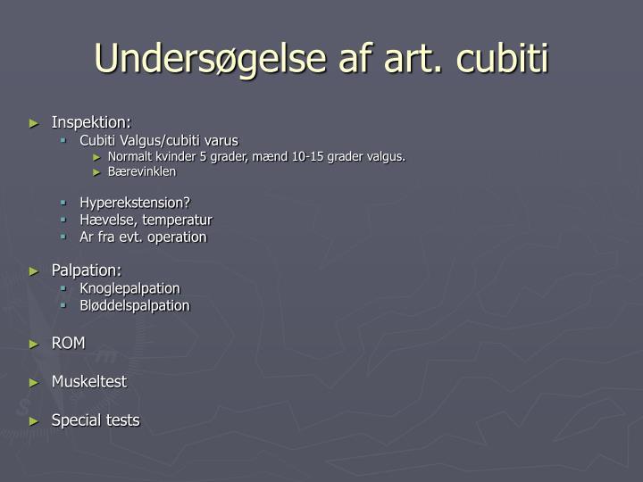 Undersøgelse af art. cubiti
