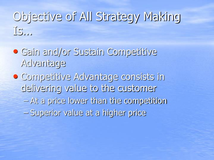 Objective of All Strategy Making Is…