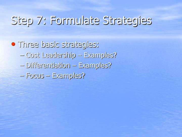 Step 7: Formulate Strategies