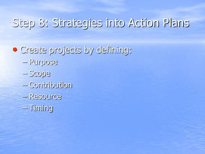 Step 8: Strategies into Action Plans