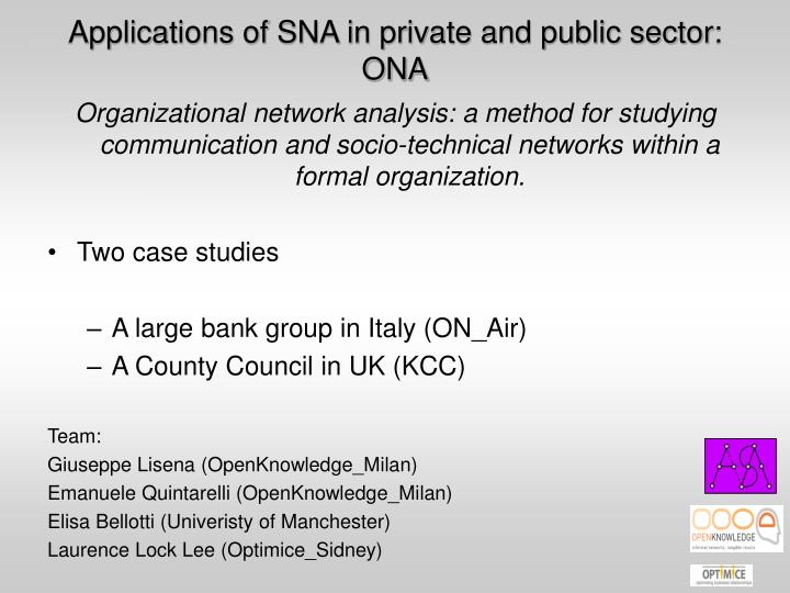 Applications of SNA in private and public sector: ONA