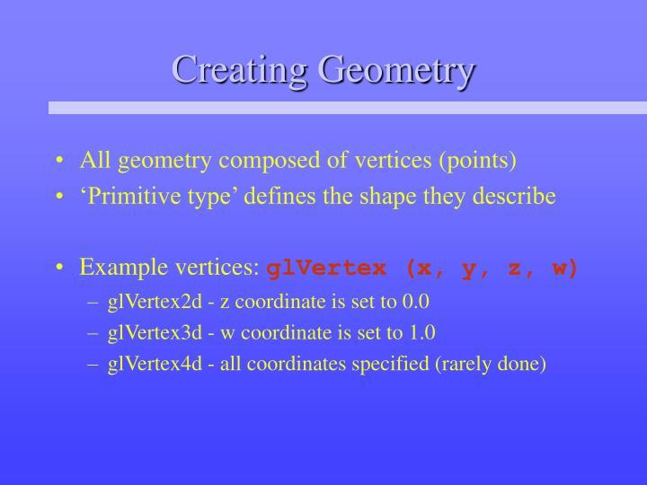 Creating Geometry