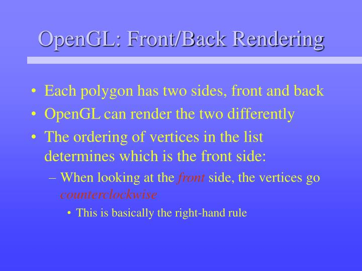 OpenGL: Front/Back Rendering