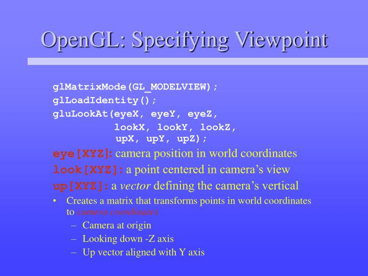 OpenGL: Specifying Viewpoint