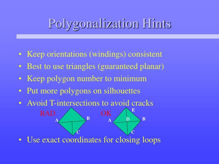 Polygonalization Hints