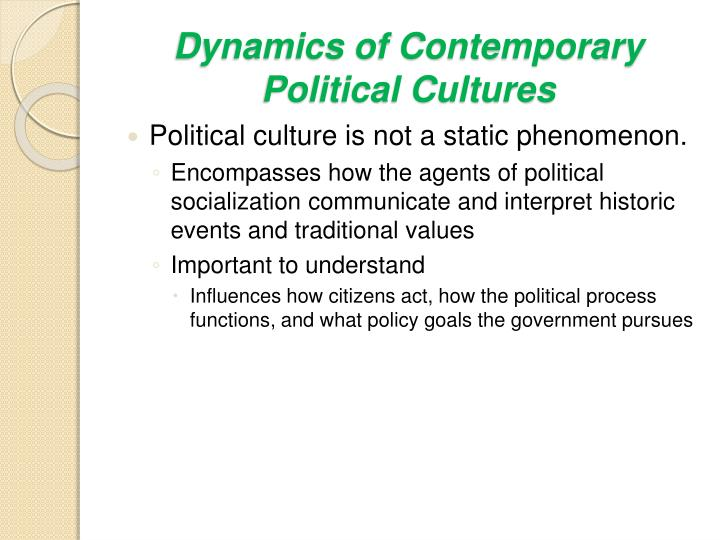 Dynamics of Contemporary Political Cultures