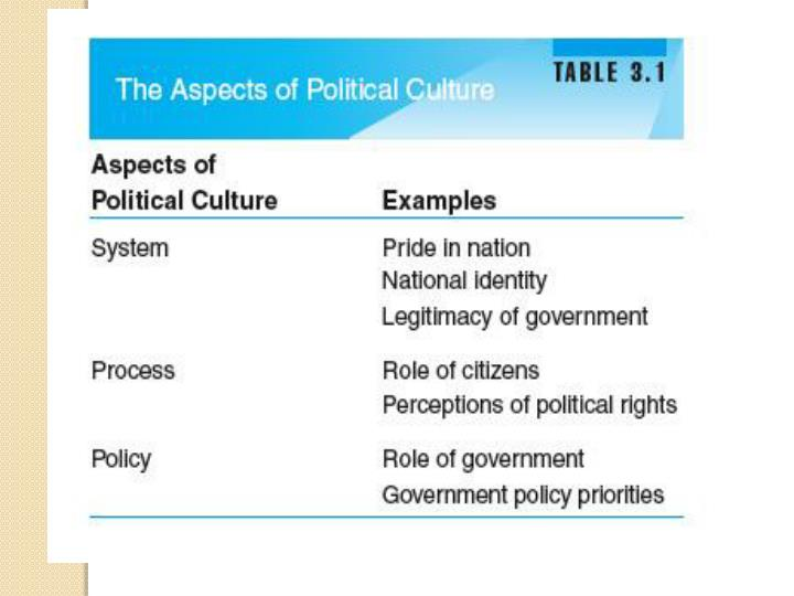 Political culture and socialization system level
