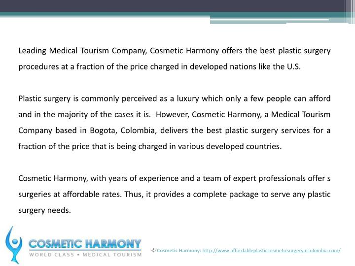 Leading Medical Tourism Company, Cosmetic Harmony offers the best plastic surgery procedures at a fr...