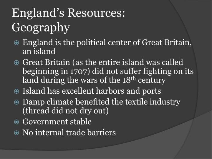 England's Resources: Geography