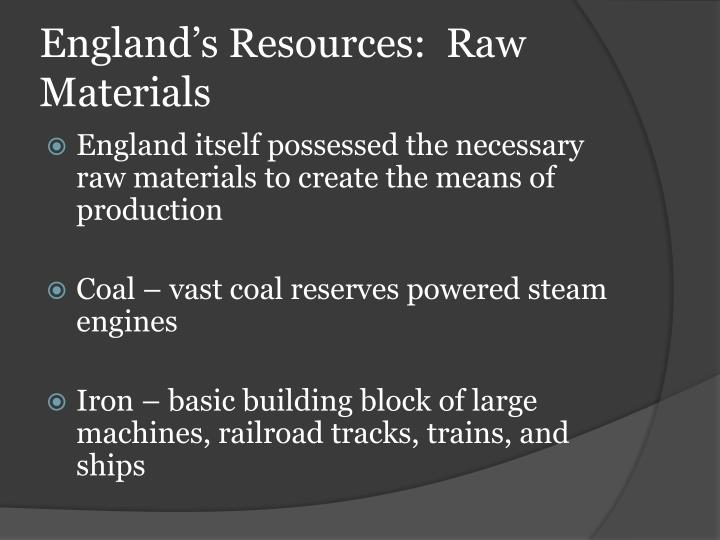 England's Resources:  Raw Materials
