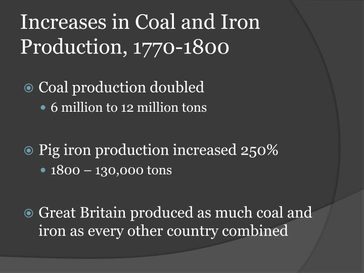 Increases in Coal and Iron Production, 1770-1800