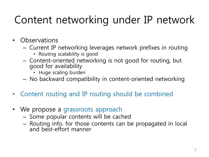 Content networking under IP network