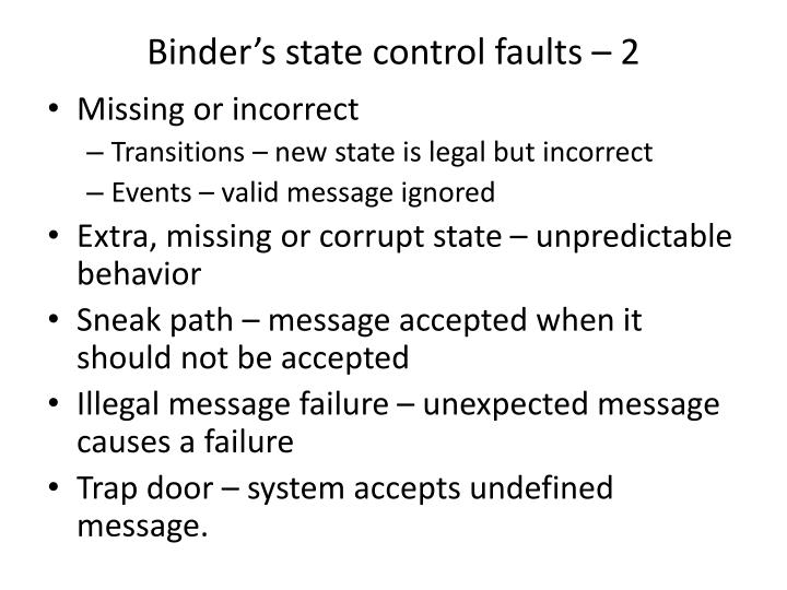 Binder's state control faults – 2