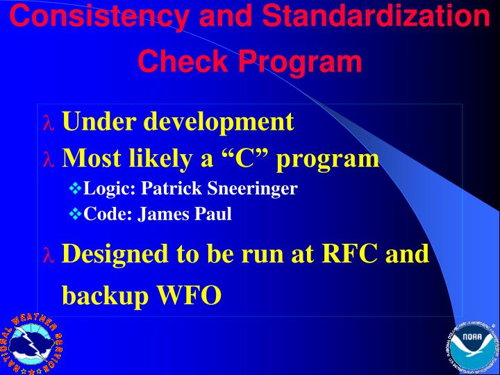 Consistency and Standardization Check Program