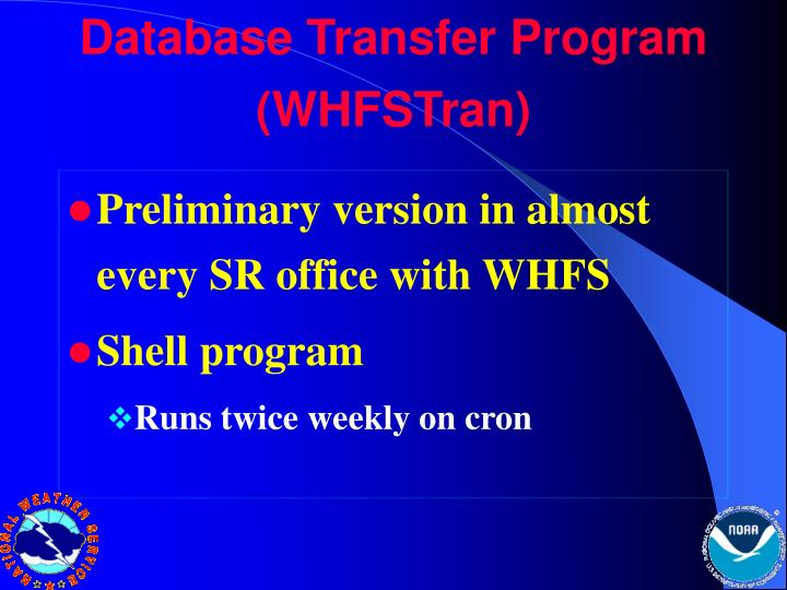 Database Transfer Program (WHFSTran)