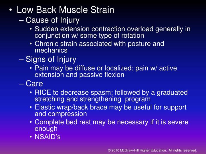 Low Back Muscle Strain