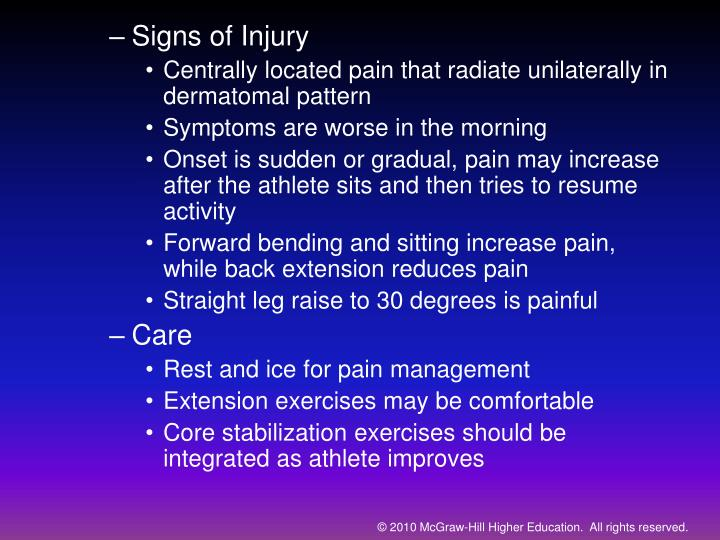 Signs of Injury