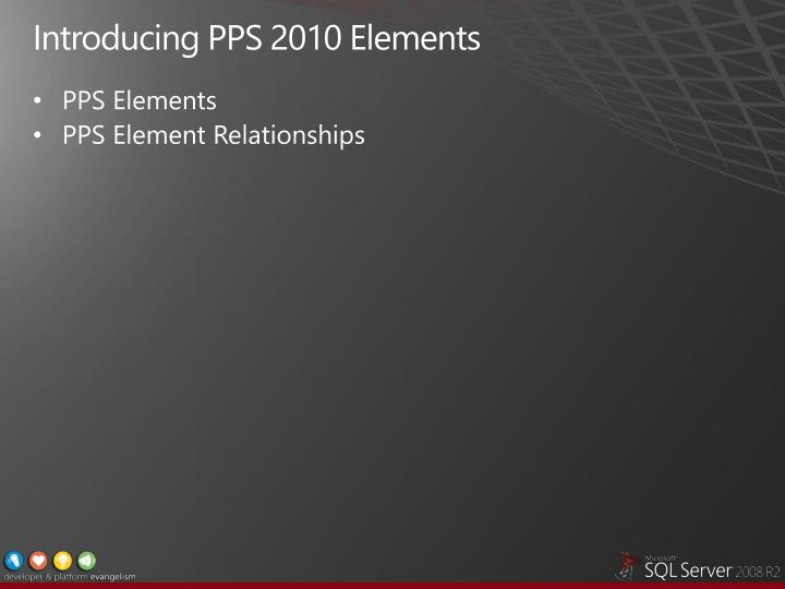 Introducing PPS 2010 Elements