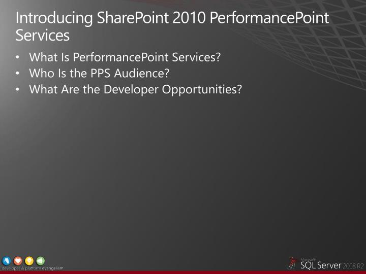 Introducing SharePoint 2010 PerformancePoint