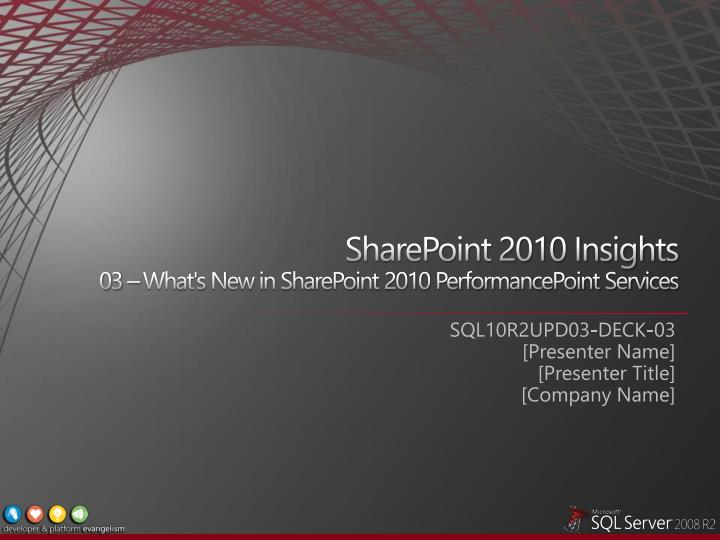 Sharepoint 2010 insights 03 what s new in sharepoint 2010 performancepoint services