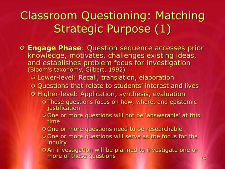 Classroom Questioning: Matching Strategic Purpose (1)