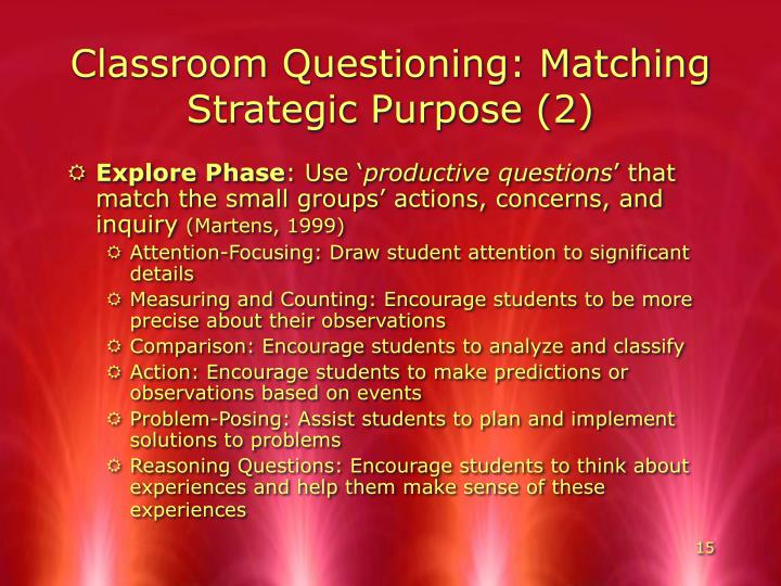 Classroom Questioning: Matching Strategic Purpose (2)