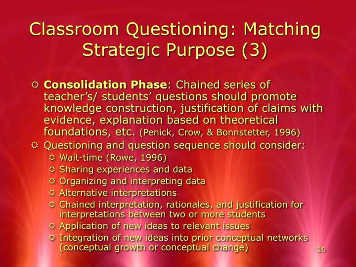 Classroom Questioning: Matching Strategic Purpose (3)
