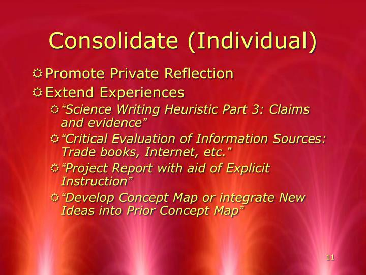 Consolidate (Individual)