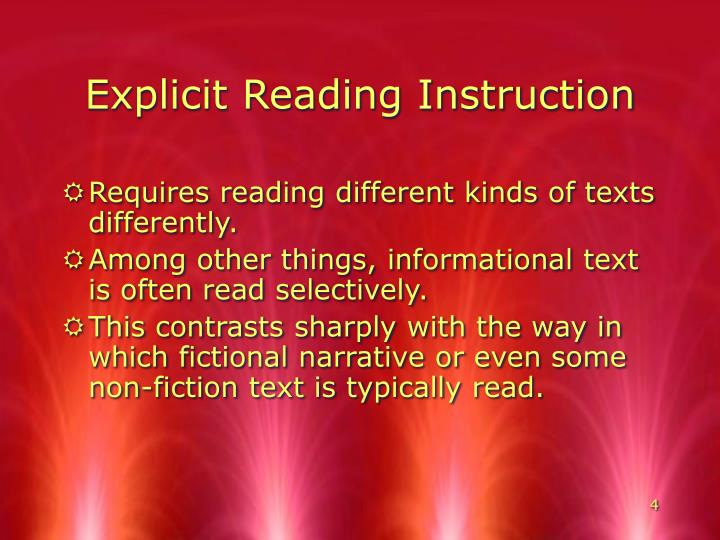 Explicit Reading Instruction