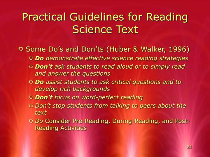 Practical Guidelines for Reading Science Text