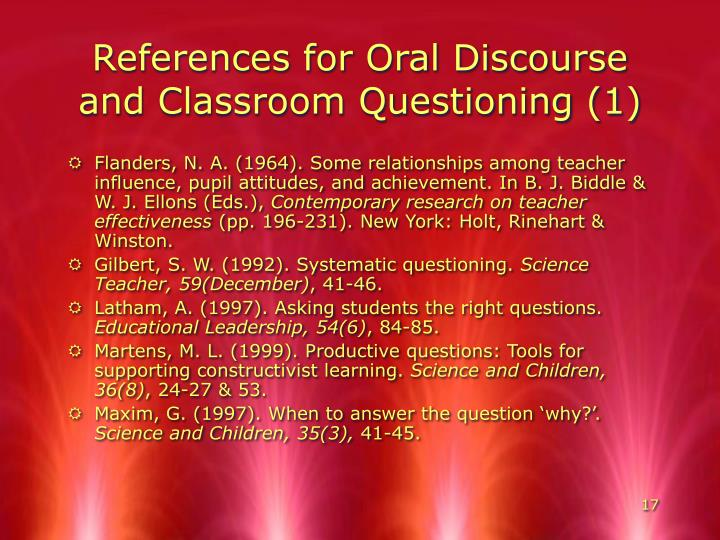 References for Oral Discourse and Classroom Questioning (1)