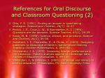 references for oral discourse and classroom questioning 2