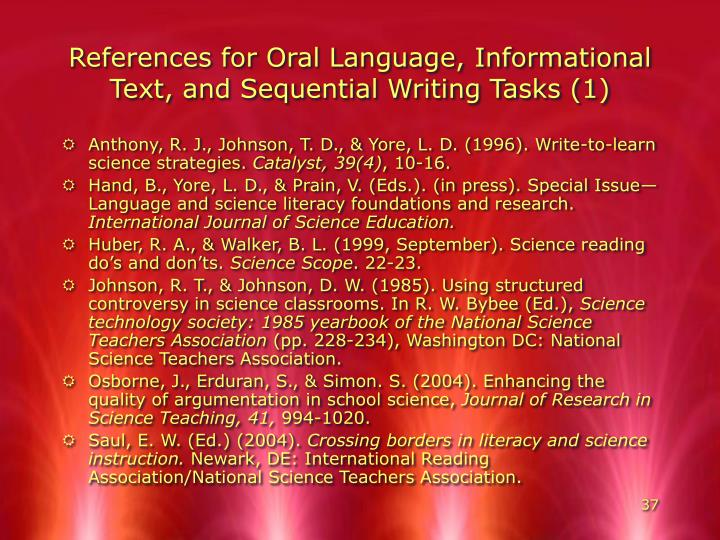 References for Oral Language, Informational Text, and Sequential Writing Tasks (1)