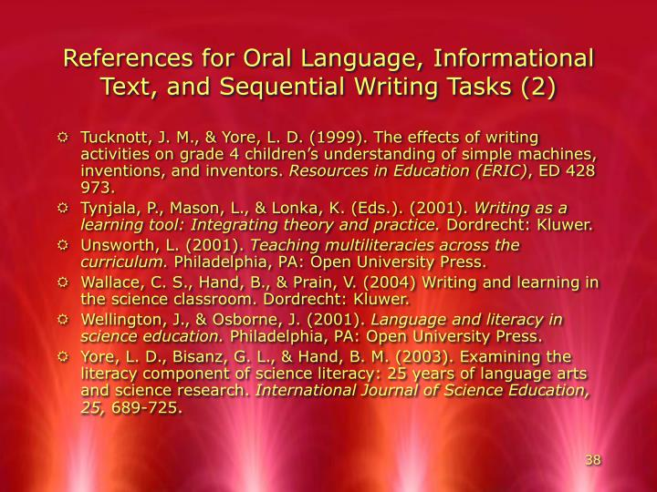 References for Oral Language, Informational Text, and Sequential Writing Tasks (2)