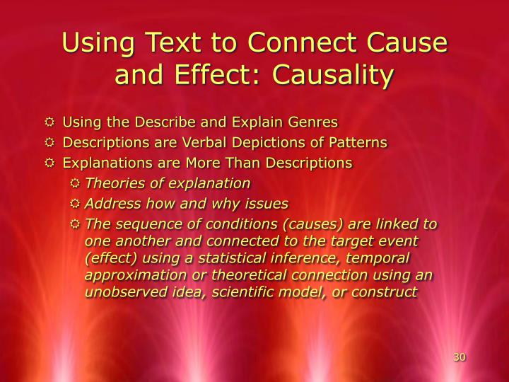 Using Text to Connect Cause and Effect: Causality
