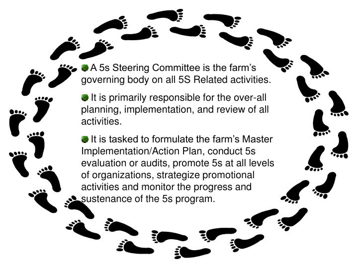 A 5s Steering Committee is the farm's governing body on all 5S Related activities.