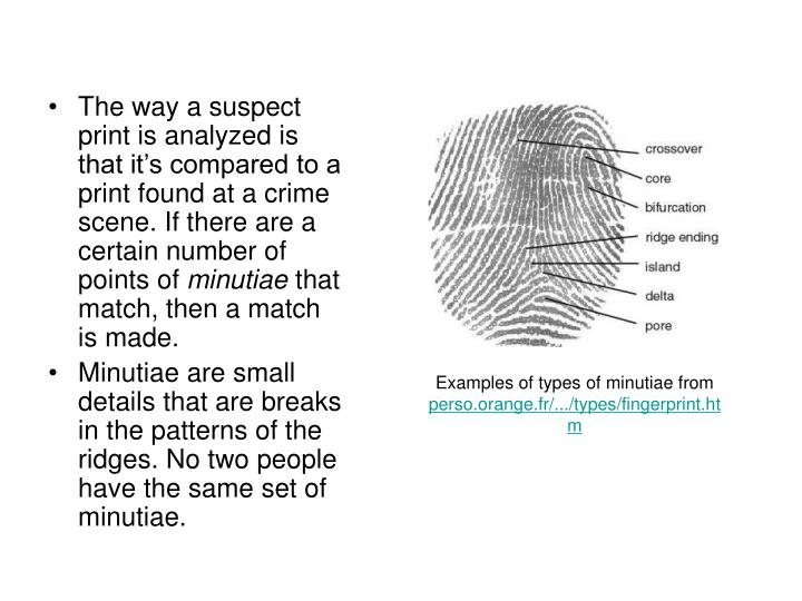 The way a suspect print is analyzed is that it's compared to a print found at a crime scene. If there are a certain number of points of