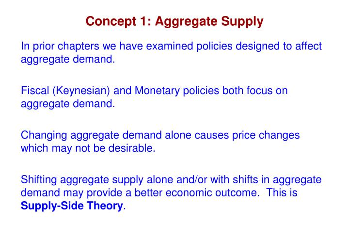 Concept 1: Aggregate Supply