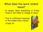what does the word stable mean