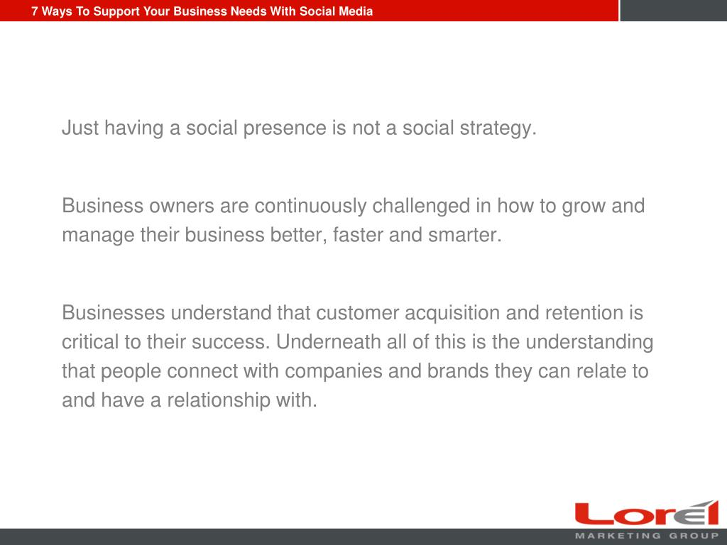 Just having a social presence is not a social strategy.
