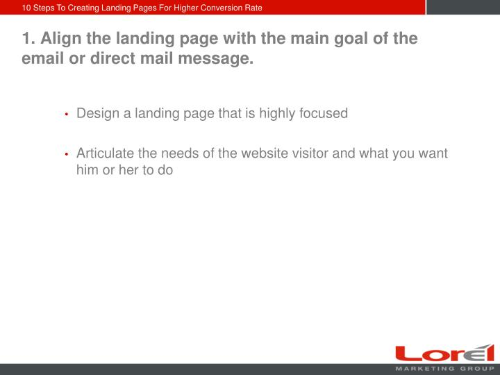 1 align the landing page with the main goal of the email or direct mail message l.jpg