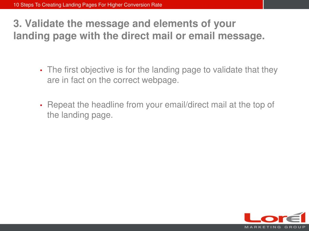 3. Validate the message and elements of your landing page with the direct mail or email message.