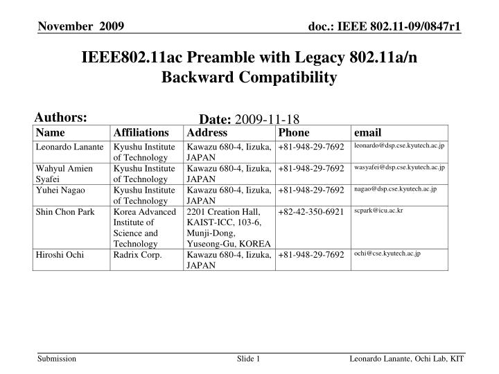 IEEE802.11ac Preamble with Legacy 802.11a/n