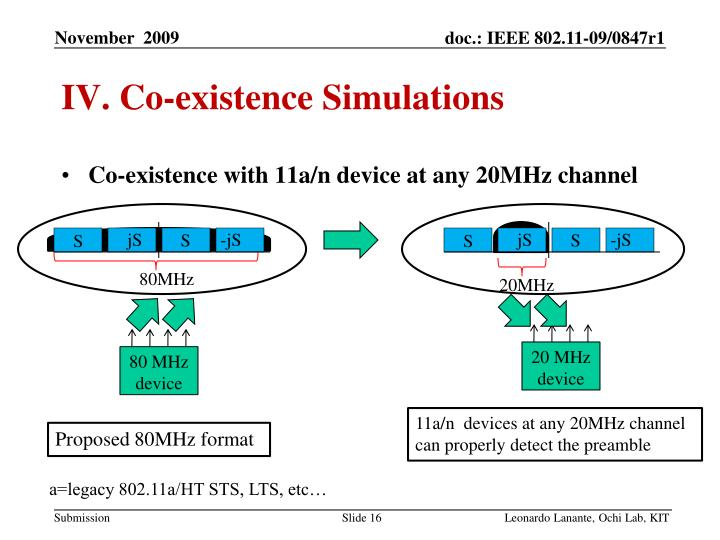IV. Co-existence Simulations