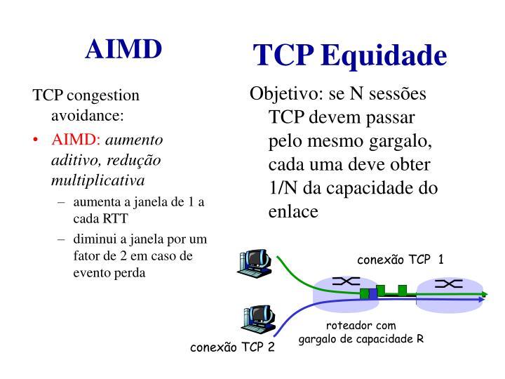 Objetivo: se N sessões TCP devem passar pelo mesmo gargalo, cada uma deve obter 1/N da capacidade do enlace