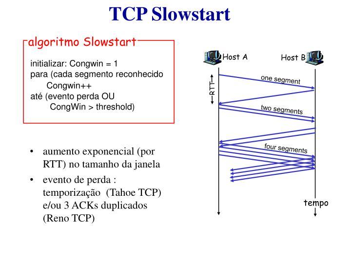 aumento exponencial (por RTT) no tamanho da janela