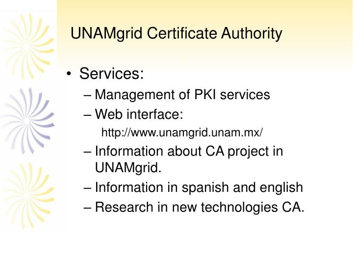 UNAMgrid Certificate Authority