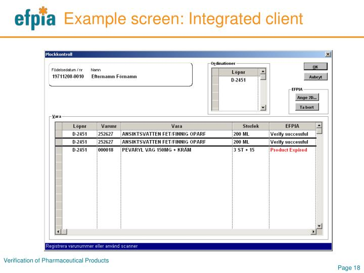 Example screen: Integrated client