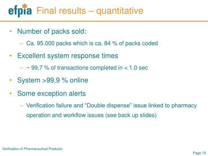 Final results – quantitative